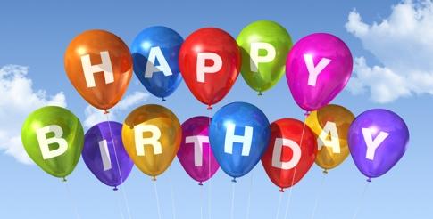 Happy Birthday balloons in the sky
