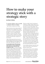 Anecdote article image: How to make your strategy stick with a strategic story