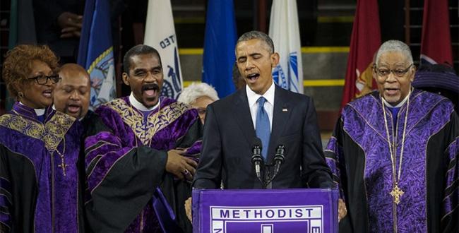 Obama singing Amazing Grace