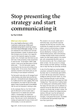 Anecdote article image: Stop presenting the strategy and start communicating it