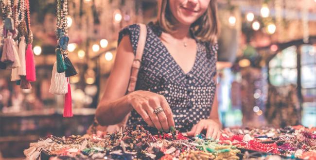Woman selecting jewellery